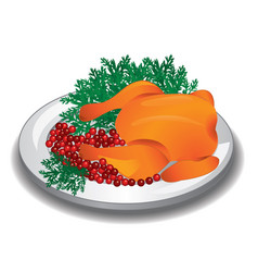 Delicious roasted turkey or chicken on a plate vector