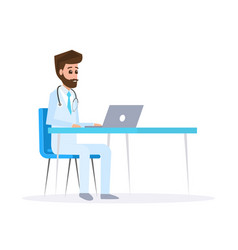 doctor character design male doctor with laptop vector image