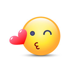 Emoticon face throwing a kiss winking smiley with vector