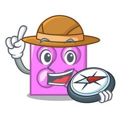 Explorer toy brick mascot cartoon vector