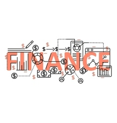 Finance concept flat line design with icons and vector