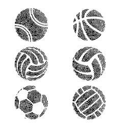 fingerprint outline basketball vector image