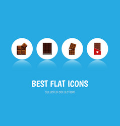 flat icon bitter set of chocolate cocoa wrapper vector image