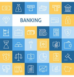 Flat Line Art Modern Money Finance and Banking vector image