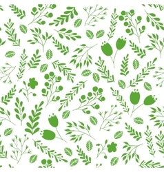 Floral seamless pattern with green garden plants vector image