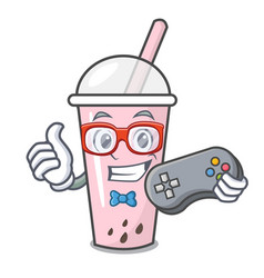 gamer raspberry bubble tea character cartoon vector image