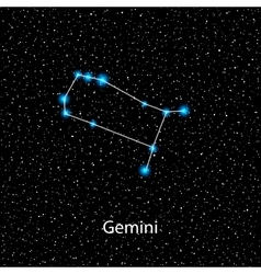 Gemini Zodiac sign bright blue stars vector