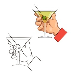 Glass of martini with olive vector