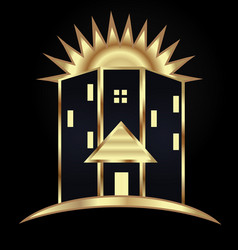 Gold modern house building icon vector