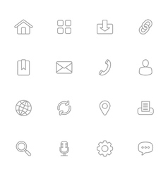 Gray line simple web icon set vector