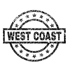Grunge textured west coast stamp seal vector