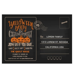Halloween Party and Costume Contest Postcard vector