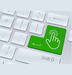 hand click symbol on white computer keyboard vector image