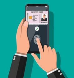 hand with smartphone with id card application vector image