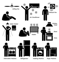 Home house basic electronic appliances stick vector
