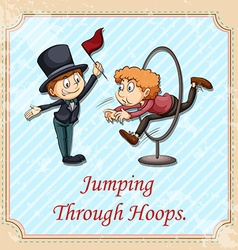 Idiom jumping through hoops vector