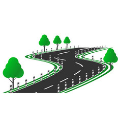 image of a curved road picture with a roadside vector image