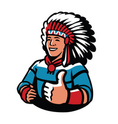 indian chief symbol warrior mascot vector image