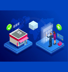 isometric online internet store concept concept vector image