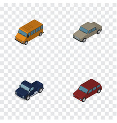 isometric transport set of autobus auto suv and vector image