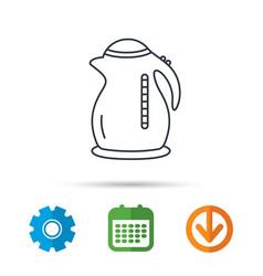 Kettle icon kitchen teapot sign vector