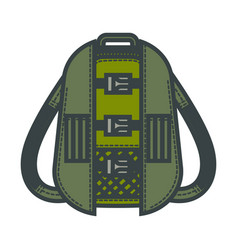 Khaki backpack for hiking with clasps and lot of vector