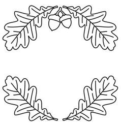 line art black and white oak branch background vector image