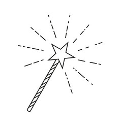 Line art black and white star magic wand vector