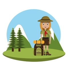 Little scout character with travel bag icon vector