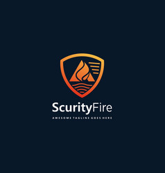 logo shield fire gradient colorful vector image