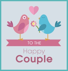Love birds on a banner wedding card vector