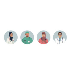 medical characters portraits middle eastern vector image