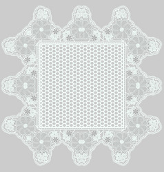 Mesh lace napkin with tracery flowers on a gray vector