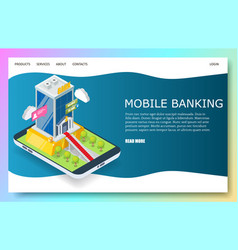 mobile banking website landing page design vector image