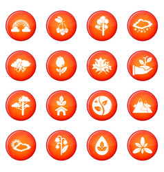 nature icons set red vector image