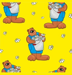 Pattern with bears on a yellow background vector