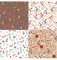 patterns with autumn nature vector image