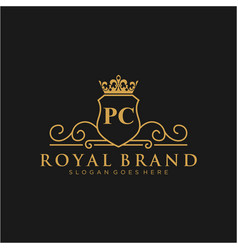 pc letter initial luxurious brand logo template vector image