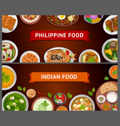 philippine and indian cuisine asian food vector image