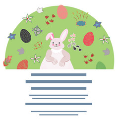 pink rabbit with eggs and flowers vector image