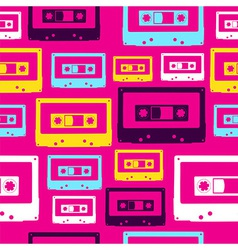 Pop audio cassette pattern vector