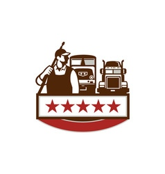 Power Washer Worker Truck Train Stars Retro vector