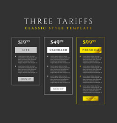 price list three tariffs for website vector image
