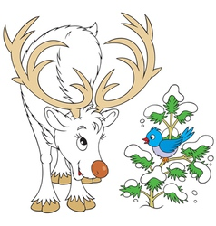 Reindeer and bird vector