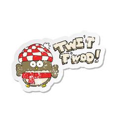 Retro distressed sticker of a cartoon cute owl vector