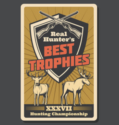 retro poster for hunter trophy vector image