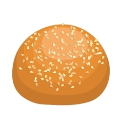 Round bread bun with sesame seeds icon vector