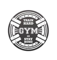 Round gym emblem logo badge with barbells vector
