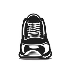 running shoe icon on white background black vector image