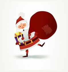 Santa claus with sack full of gift and present box vector